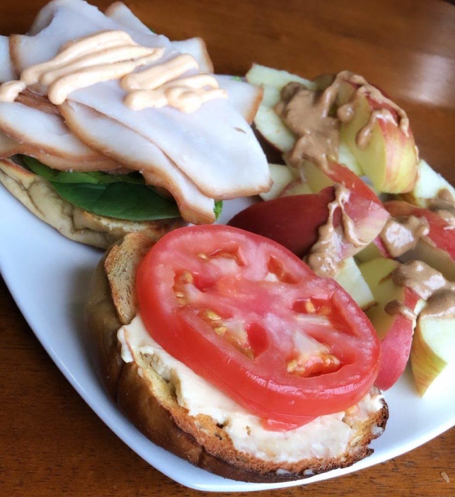 Turkey Bagel Sandwich with Apples